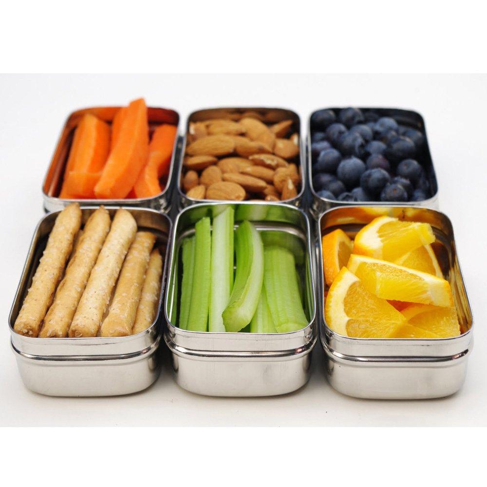 The ECOlunchpod is ideal for snacks. Mix and match as shown.