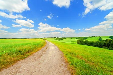 Philosophie der grüne Weg, Feldweg und blauer Himmel
