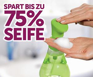 Verwendung eines SeifenSchaumspenders spart bis zu 75% Seife ein