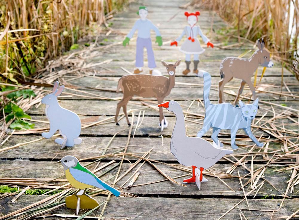 Papierfiguren für Spielen ohne Plastik
