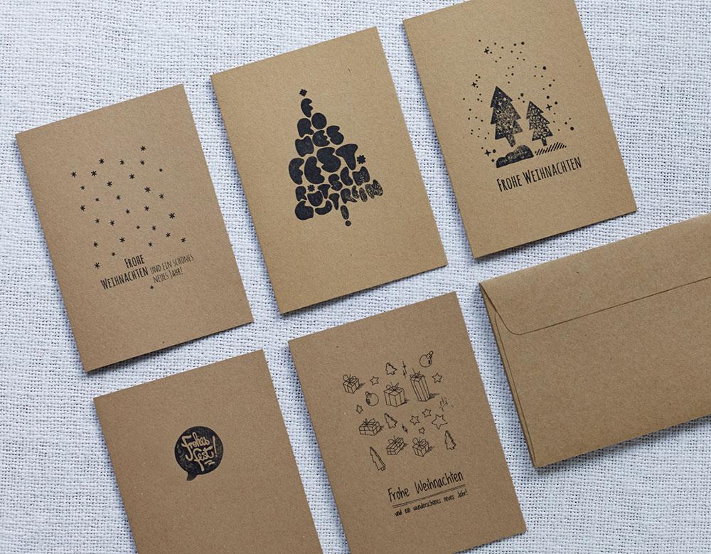 Handgedruckte Spendenkarten von Eco Weihnachtskarten