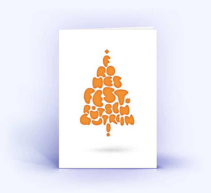 Diese orangefarbenen OEko-Weihnachtskarten mit einem Weihnachtsbaum zeigen ein grafisches Layout. Diese 4-seitige Grusskarte ziert ein Grusstext in Deutsch.