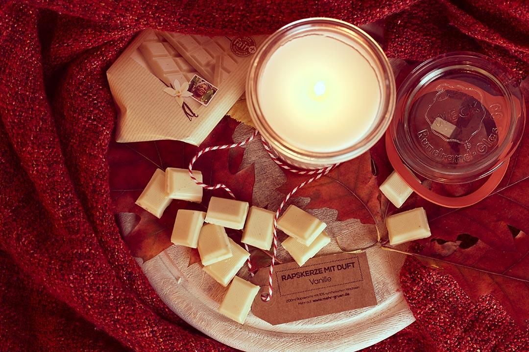 Kerze aus Rauswuchs mit Vanille Duft