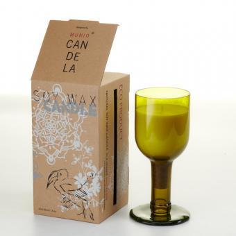 Bio Kerze Villa im Weinflaschenglas  von Munio Candela Natur / ohne Duft