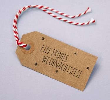 Geschenkanhänger Kraftkarton Motiv Frohes Weihnachtsfest 5er Set
