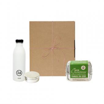 Geschenk-Set Eco-Lunchbox 3in1 ice white