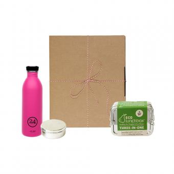 Geschenk-Set Eco-Lunchbox 3in1 passion pink
