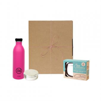 Geschenk Set Eco-Lunchbox oval passion pink