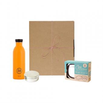 Geschenk Set Eco-Lunchbox oval total orange