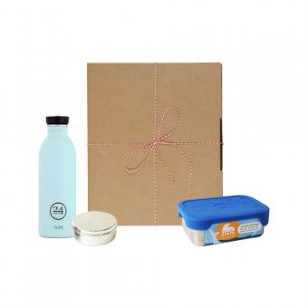Geschenk Set Eco-Lunchbox Splash cloud blue