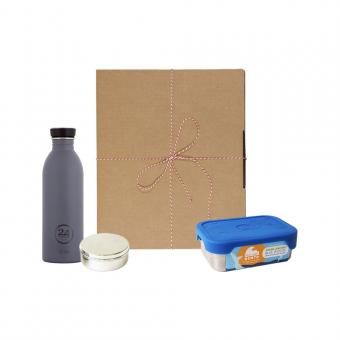 Geschenk Set Eco-Lunchbox Splash formal grey