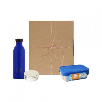 Geschenk Set Eco-Lunchbox Splash gold blue
