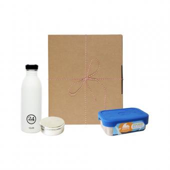 Geschenk Set Eco-Lunchbox Splash ice white