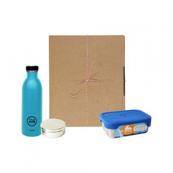 Geschenk Set Eco-Lunchbox Splash lagoon blue