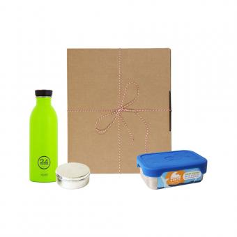 Geschenk Set Eco-Lunchbox Splash lime green