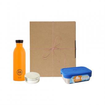 Geschenk Set Eco-Lunchbox Splash total orange