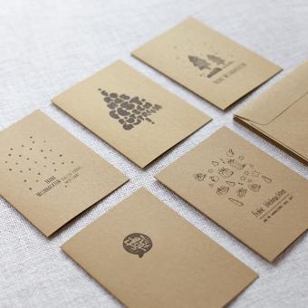 "Handbedruckte Weihnachtskarten 5er Set ""Mixed"""