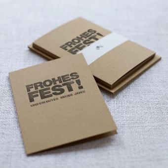 Handbedruckte Weihnachtskarten 5er Set Frohes Fest