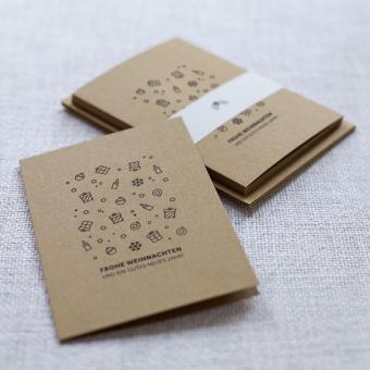 """Handbedruckte Weihnachtskarten 5er Set """"Geschenke"""""""