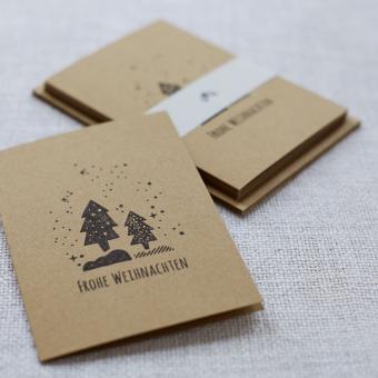 """Handbedruckte Weihnachtskarten 5er Set """"Weihnachtsbaum"""""""
