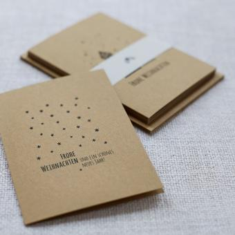 """Handbedruckte Weihnachtskarten 5er Set """"Sternenhimmel"""""""