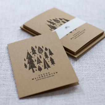 """Handbedruckte Weihnachtskarten 5er Set """"Wald"""""""