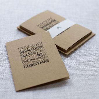 Handbedruckte Weihnachtskarten 5er Set Wortwolke
