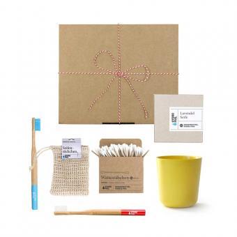 Geschenk Set Hydrophil Holzzahnbürsten mini gelb