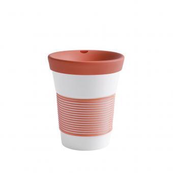 Kaffeebecher To Go aus Porzellan - 0,35L coral sunset