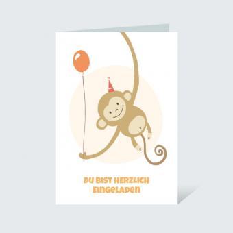 Einladungskarte DIN A6 Kindergeburtstag Affe Orange