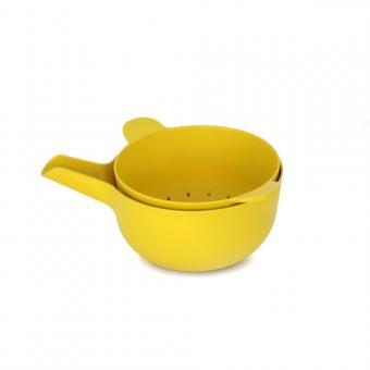 Schüssel mit Sieb Set Pronto von BIOBU gelb