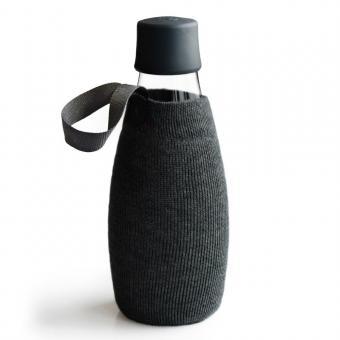 Textile Schutzhülle für Retap Trinkflasche aus Glas 0,5L schwarz