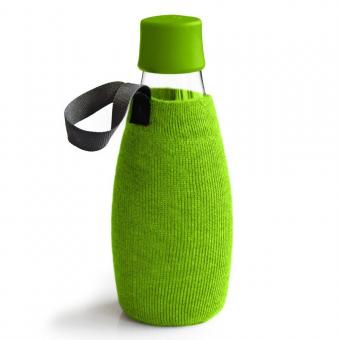 Textile Schutzhülle für Retap Trinkflasche aus Glas 0,8L grün