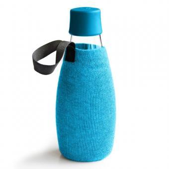 Textile Schutzhülle für Retap Trinkflasche aus Glas 0,5L blau