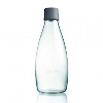 Glas Trinkflasche von Retap 0,8L grau