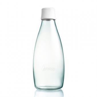 Glas Trinkflasche von Retap 0,8L frost weiß