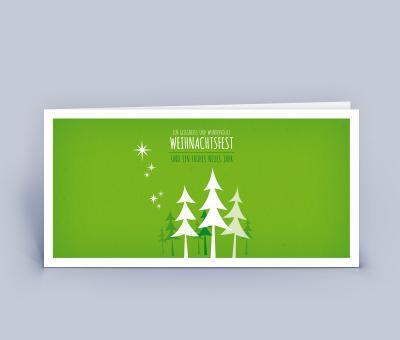 Weihnachtskarte DIN Lang kleiner Wald 5er Set