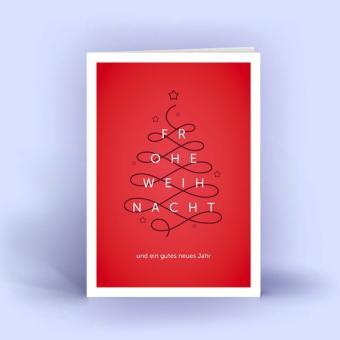 Weihnachtskarten DIN A6 im 5er Set Weihnachtsbaum Linie rot