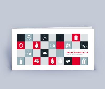 geschäftliche Weihnachtskarte DIN Lang Quadrate 5er Set