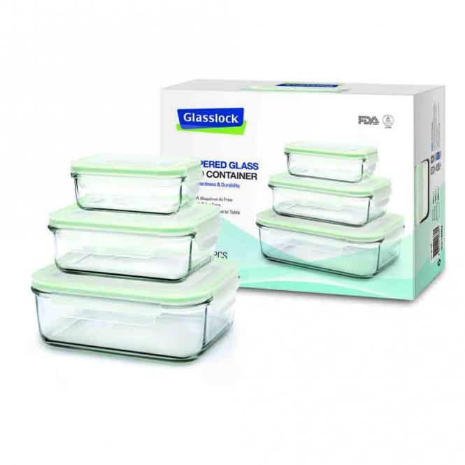Mehr gr n glas frischhaltedosen rechteckig 3er set for Glas beistelltisch rechteckig