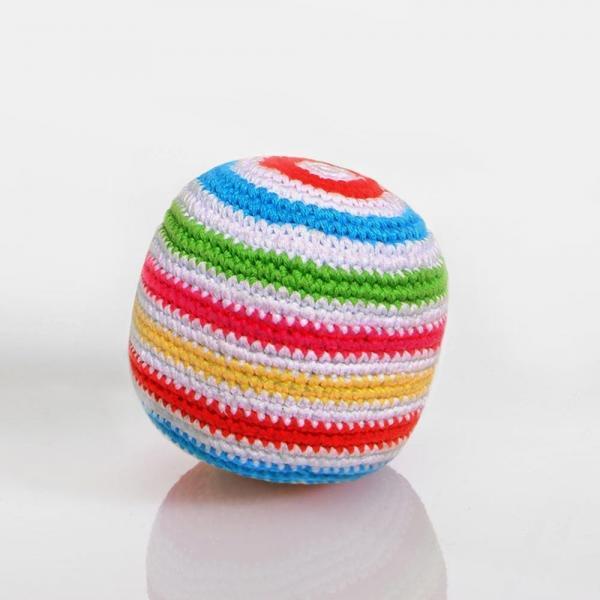 Häkelball von Pebble weiß bunt gestreift