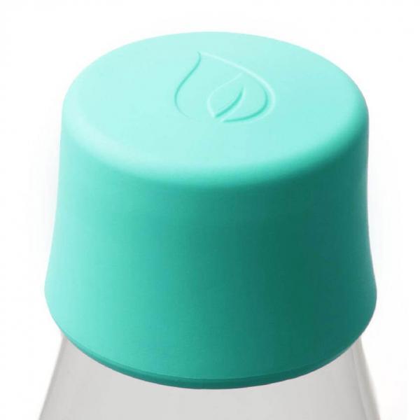 Glas Trinkflasche von Retap 0,8L Minzeblau