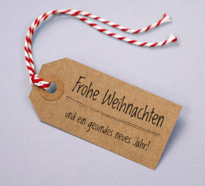 Geschenkanhänger Kraftkarton Motiv Frohe Weihnachten 5er Set