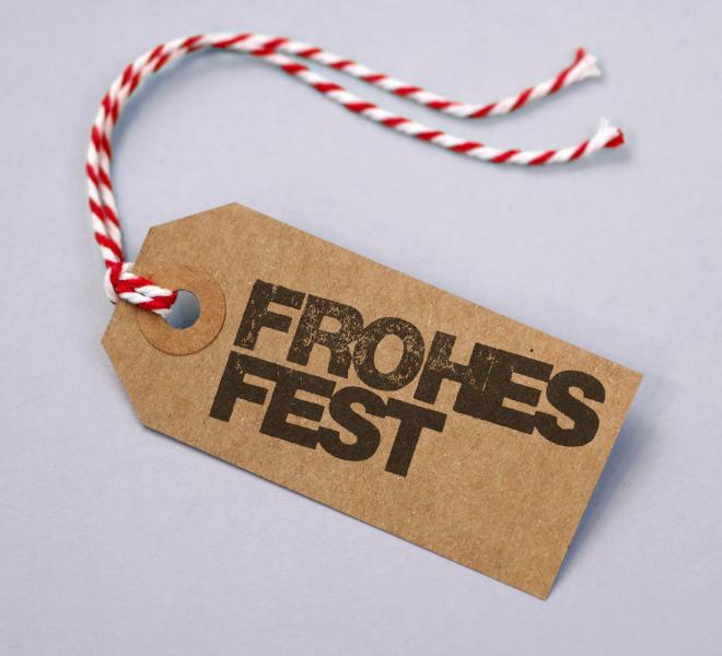Geschenkanhänger Kraftkarton Motiv Frohes Fest 5er Set