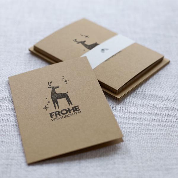 Handbedruckte Weihnachtskarten 5er Set Hirsch