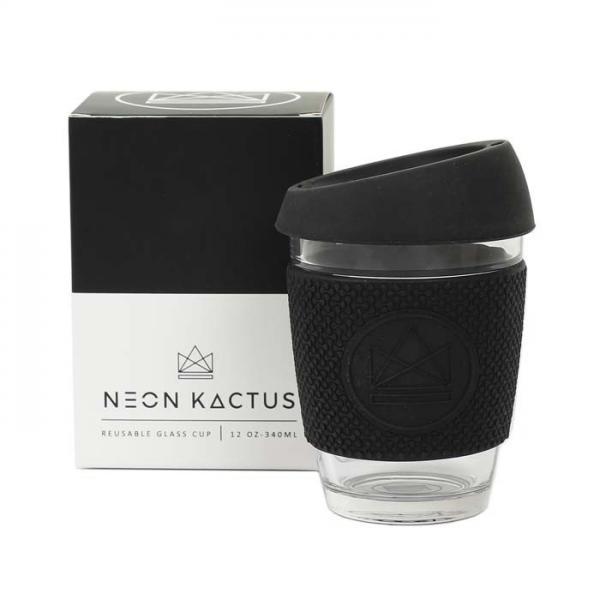 Kaffeebecher to Go aus Glas, 350ml schwarz