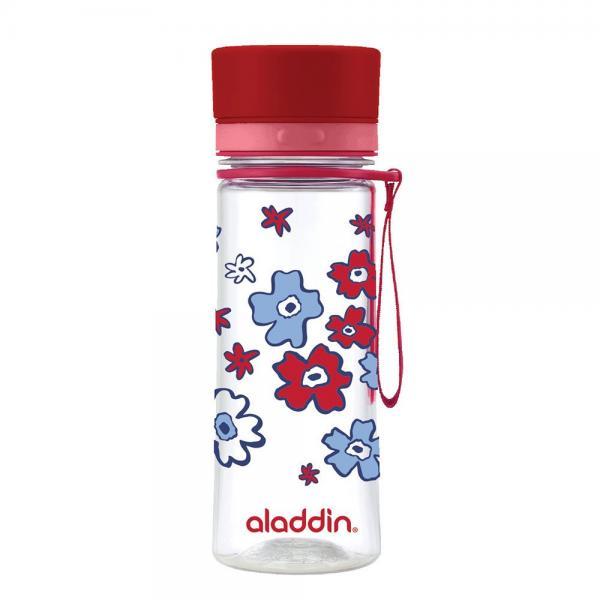 Kinder Trinkflasche AVEO von aladdin 0,35L rote Blumen