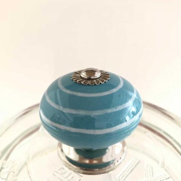 Vorratsdosen Glas - 750ml türkis gestreift