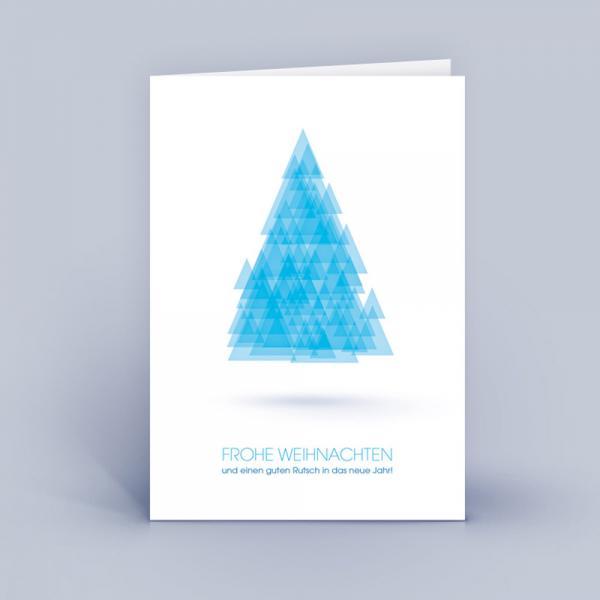 Weihnachtskarten A6 Baum aus Dreiecken Blau
