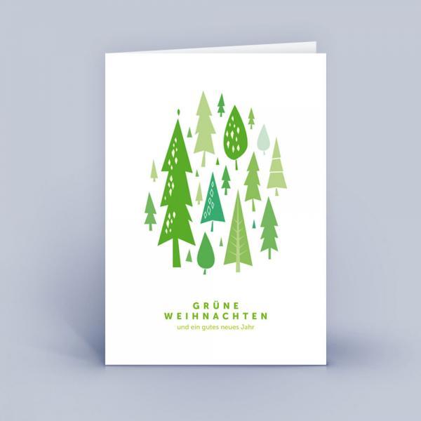 Weihnachtskarte DINA6 Wald grün 5er Set
